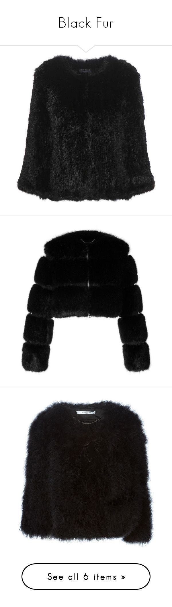 """""""Black Fur"""" by babyrollingstone ❤ liked on Polyvore featuring outerwear, jackets, black, rabbit fur jacket, meteo by yves salomon, rabbit jacket, coats, fur, cropped jacket and zip front jacket"""