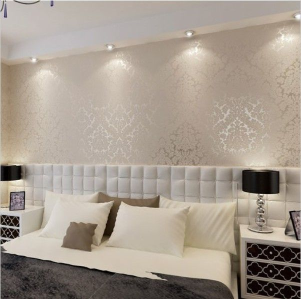High End 10m Luxury Damask Embossed Textured Wallpaper Rolls Gold Silver White Paint Colors Flooring Pinterest Home Decor