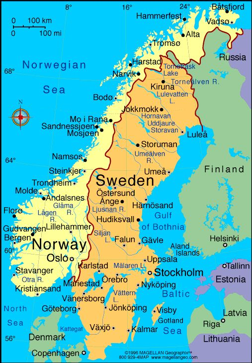 Map of Sweden+ I want to visit Sweden, Denmark, Norway, maybe Finland, plus Iceland and Ireland (yes, I know one of these things is not like the other).