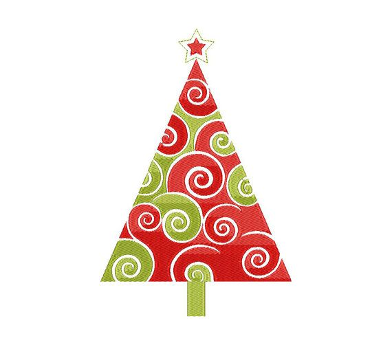 Christmas tree - Machine Embroidery Design - Instant Download - Three sizes