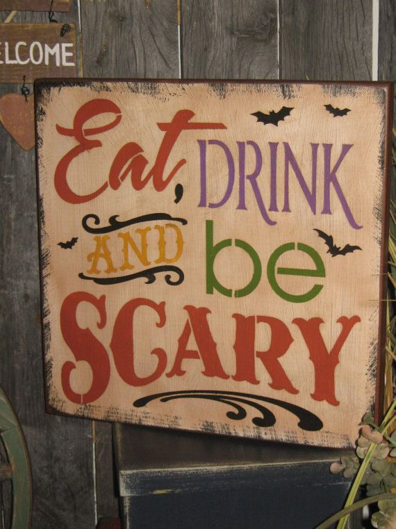 "Primitive Lg Wood Holiday Halloween Subway Sign Bats Witch Ghost "" EAT, Drink and Be Scary "" Pumpkin Witch Fall Spooky Country Housewares"