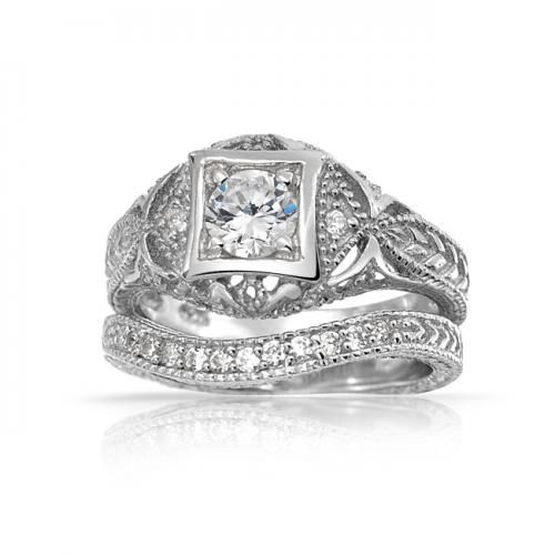 Bling Jewelry Antique Silver Round CZ Vintage Waved Anniversary Wedding Ring Set