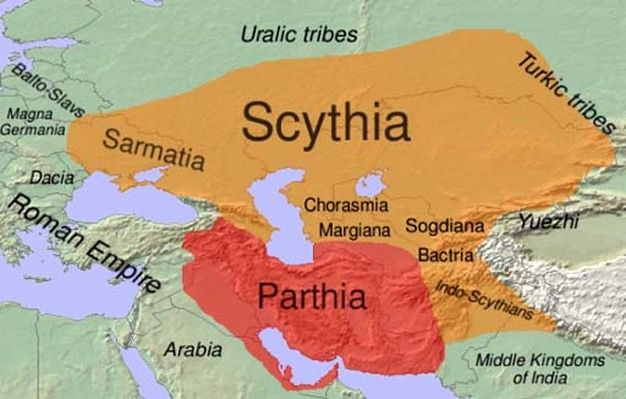 Scythians were nomadic herders of the steppes north of the Black Sea. Their origin, just like their mother tongue, is essentially unknown. They were among the first nomads riding domesticated horses, which gave them tremendous mobility and power. From the seventh century B. C. they dominated the Eastern part of Europe by conquering most other nomads and agricultural tribes.