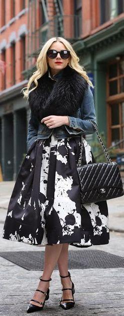 #Remix by Atlantic - Pacific / black fur / denim jacket / black and white patterned full midi skirt