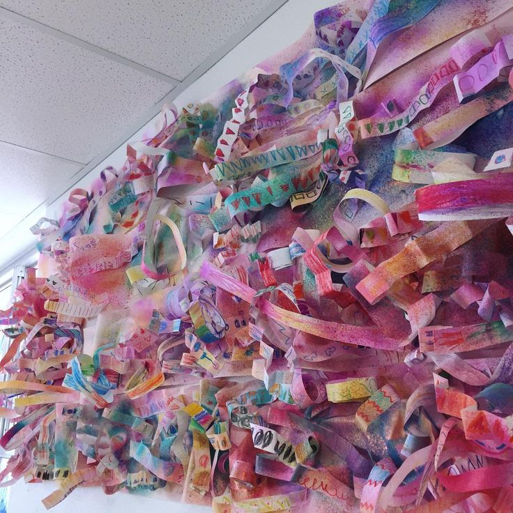 We have a new art installation thanks to today's magnificent PreK and kinder artists! Looks crazy and wonderful- just the way kids' art is supposed to be! #kidsart #arteducation