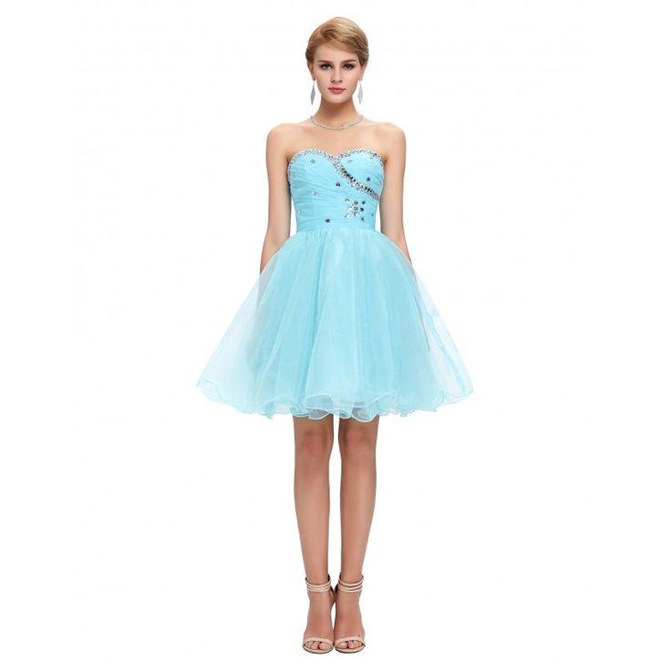 Bledomodré spoločenské šaty CL4503