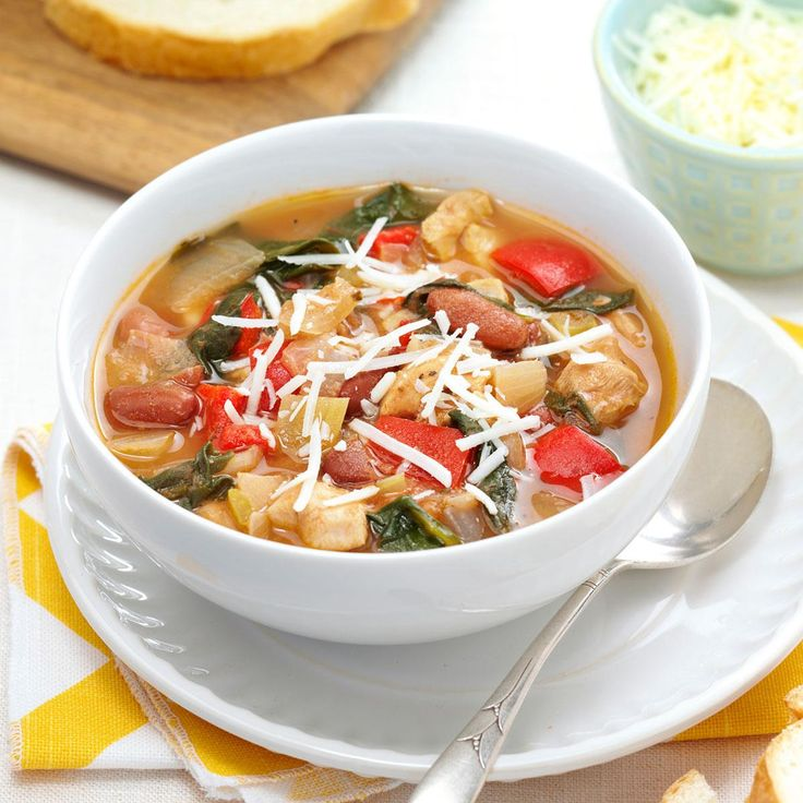 Herbed Chicken & Spinach Soup Recipe -I love this slow cooker dish because it combines some of my favorite ingredients, such as savory spices, kidney beans and fresh spinach. To create a hearty meal, I eat the chicken soup with a side of crusty bread slathered in butter.—Tanya MacDonald, Antigonish County, Nova Scotia