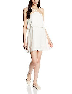 UK 10, White - Blanc (Middle White), Teddy Smith Women's Ragga Dress NEW