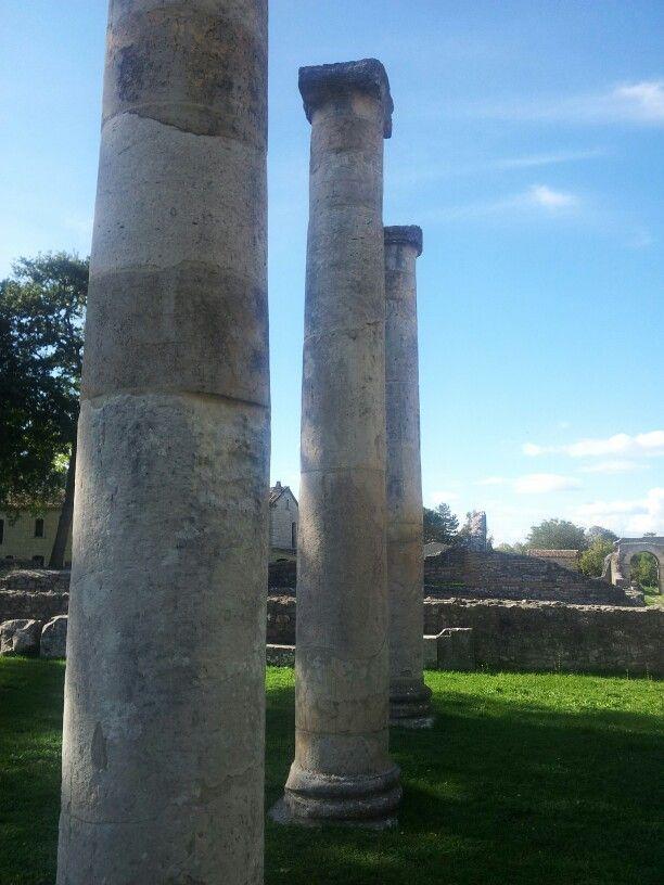 Saepinum. Colonne della Basilica e Porta Bovianum. ©F Laurelli 2012.