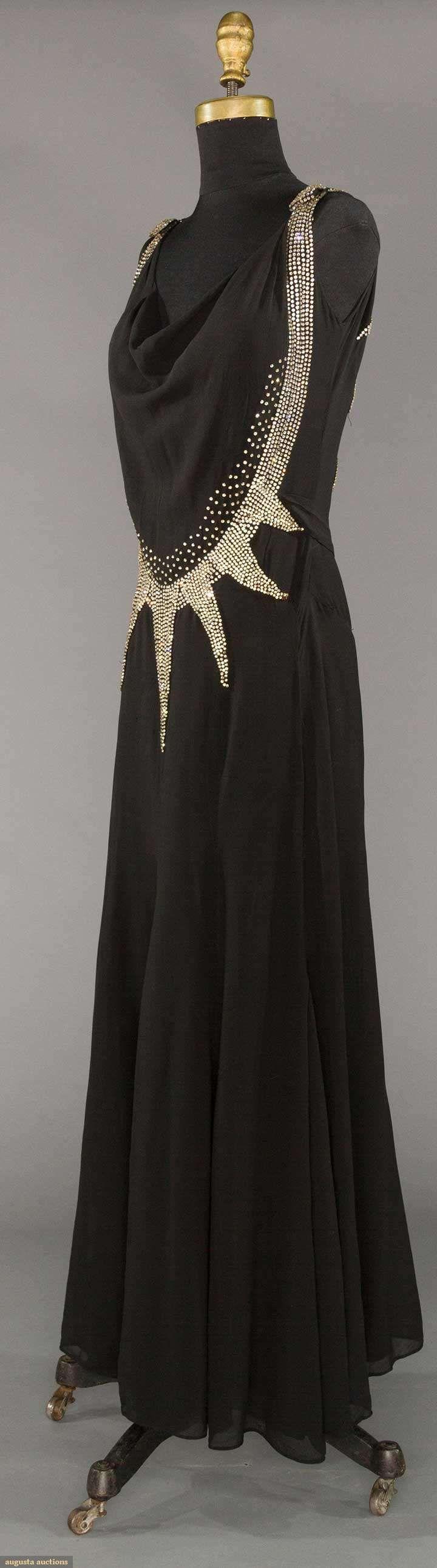 Art Deco Rhinestone Evening Dress, black silk chiffon, 1930's