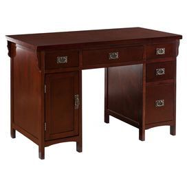 Add a timeless touch to your home office or transform a corner of your living room into a sophisticated study with this handsome computer desk. Its Mission-inspired design and cherry finish invite rich style to any home, while multiple drawers and doors offer ample storage for everyday essentials.   Product: Computer deskConstruction Material: Asian hardwoods, birch veneers, engineered wood and metalColor: CherryFeatures:  Four drawersOne computer cabinetOne slide-out keyboard drawer ...