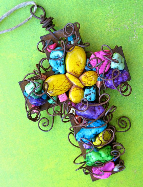 Wall Cross Rusty Ornament  with Magnesite Beads by TotallyCrosses, $26.50