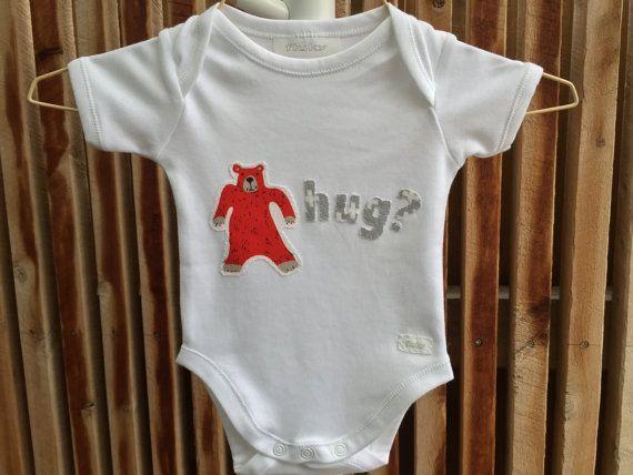 Baby onesie Bear hug hand stitched original by flukybydesign