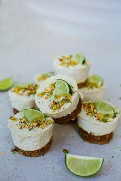 raw vegan mini lime cheesecakes