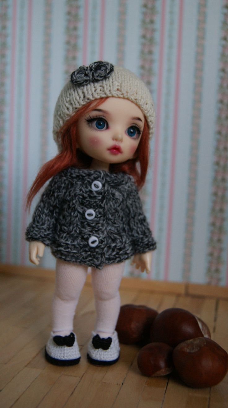 This sweter  and cap fits Lati Yellow Dolls, Dolls PukiFee Fairyland and Luts Delf Tiny Dolls. by CocoDolls on Etsy