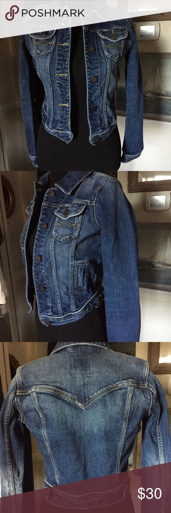 Abercrombie and Fitch Jean jacket S Abercrombie and Fitch blue denim Jean jacket distressed finish medium indigo blue great condition Abercrombie and Fitch Jackets & Coats Jean Jackets