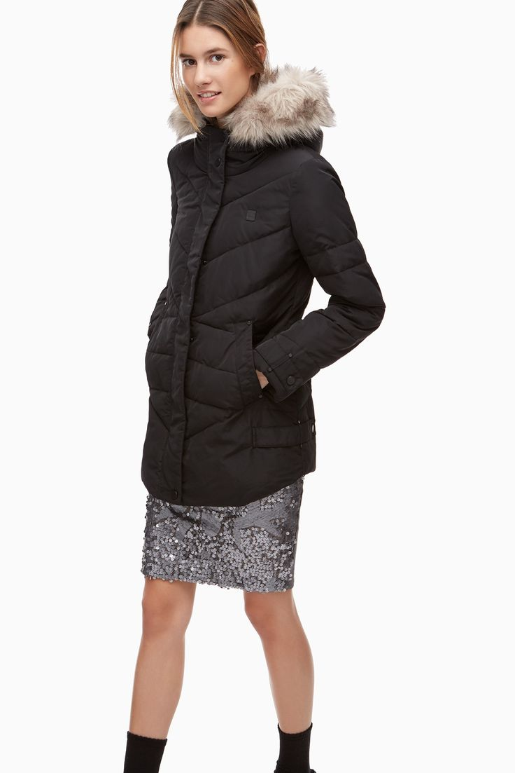 Quilted Shell Coat With Faux Fur Hood - Urban Rebels | Adolfo Dominguez shop online