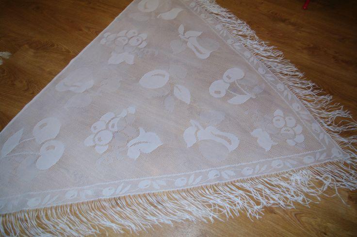 BIG Polish White Lace Shawl Fringes fruits cherries apple Disco era Shoulder Wrap Soviet Triangle Shawl Evening Wrap Boho Chic Shawl Wedding by VintagePolkaShop on Etsy