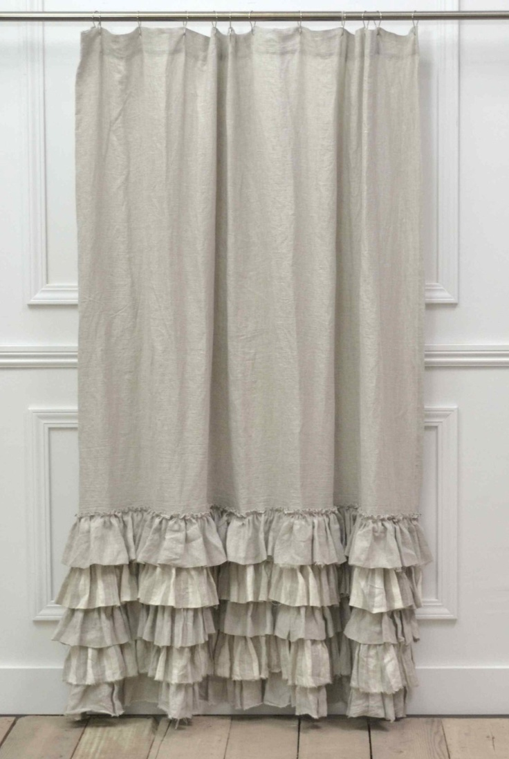 Ruffled shower curtain diy - Last One Sofia Shower Curtain In Natural