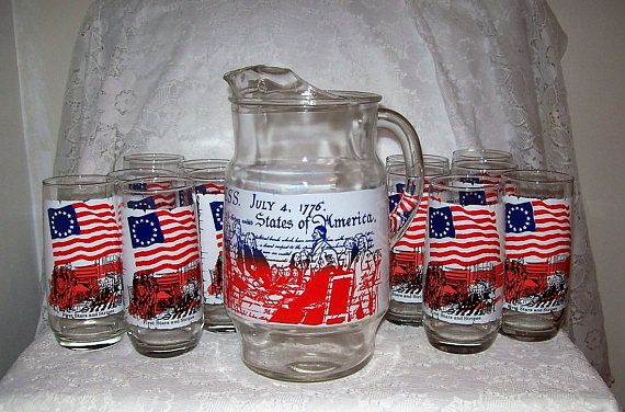 Vintage Coca Cola Bicentennial Heritage Collectors Set Pitcher