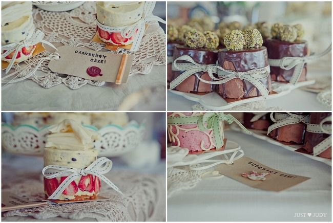 Cranberry and other handmade cake favors with ribbon xox Handmade Rustic Beach Wedding {Strandkombuis Beach} | Confetti Daydreams