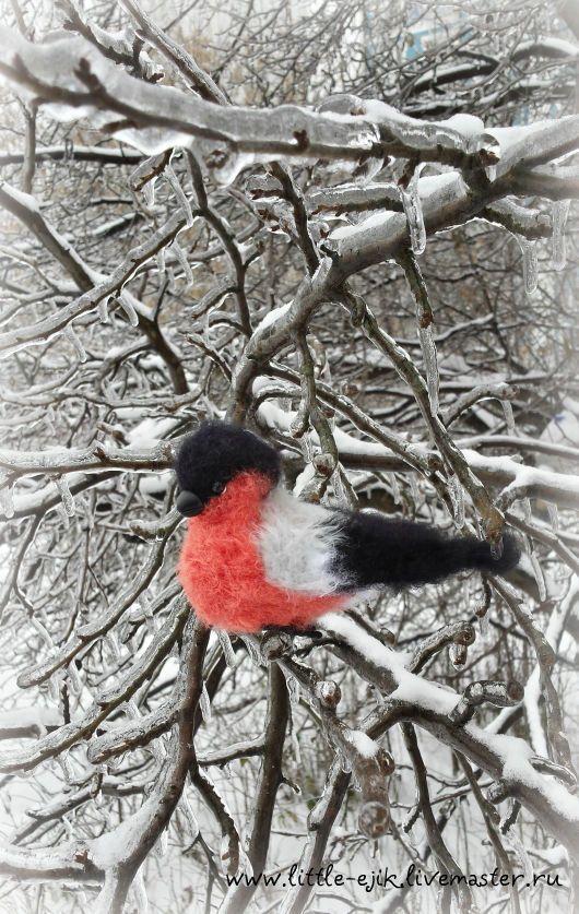 Купить снегирь Пашка - серый, красный, снегирь, вязаная игрушка, авторская игрушка, зима, Снег