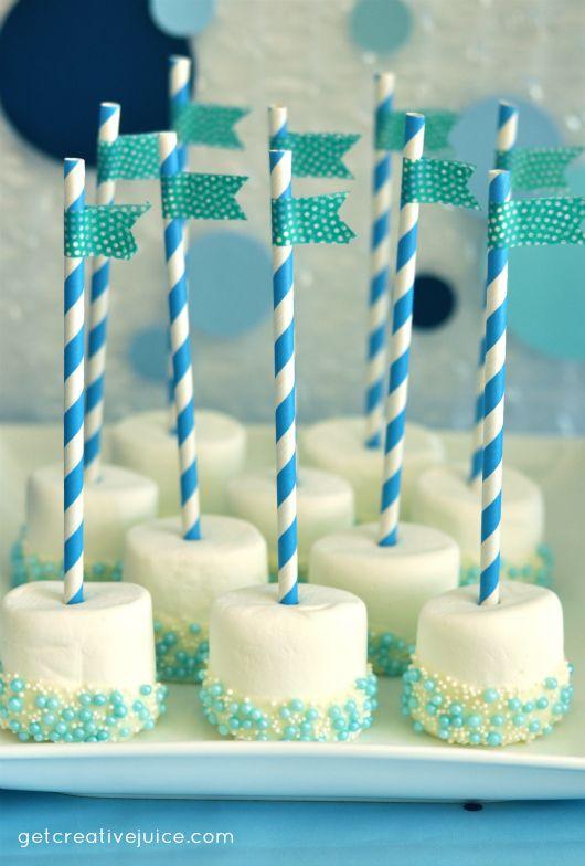 ideas de la fiesta de cumpleaños de la burbuja sumergen malvaviscos