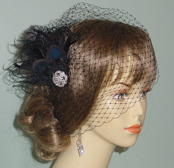 Black  Birdcage Veil with Peacock Feather Fascinator Goth Bride Made to Order