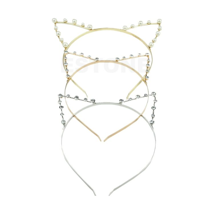 For Women Fashion Girls Cat Ears Pearl Rhinestone Alloy Headband Hair Band Cute New