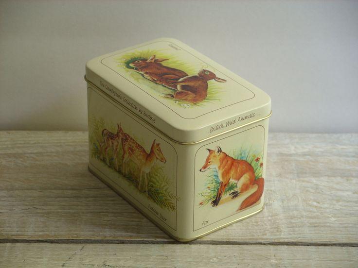 Vintage Bristow's Fudge Tin ~ Woodland Animals ~ British Wild Animals ~ England Countryside by RetrOAmyO on Etsy
