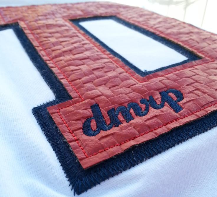 Textured Embroidery on Vintage baseball raglan 'D'