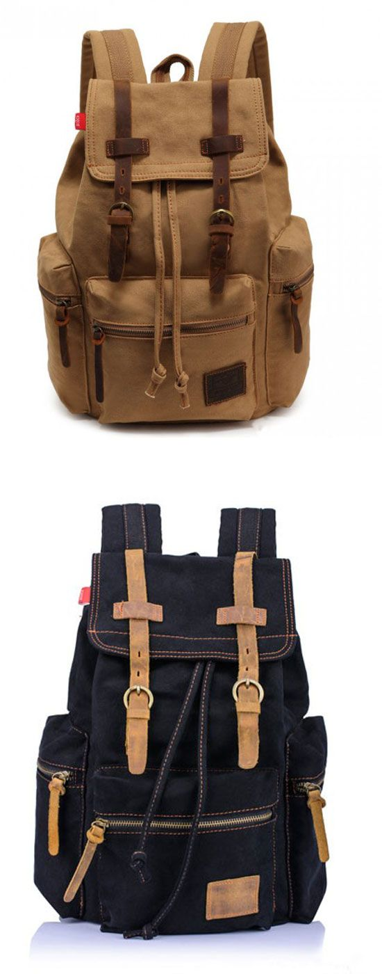 Which color do you like? Retro Brown Scrub Canvas Backpack #backpack #retro #canvas #bag #rucksack #travel #camping