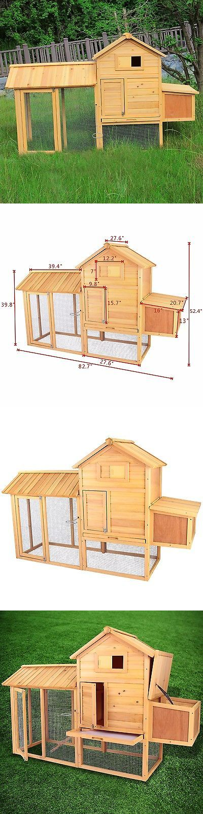 Backyard Poultry Supplies 177801: Wooden 83 Hen House Chicken Coop Rabbit Hutch Pet Animal Poultry W/Nest Cage BUY IT NOW ONLY: $159.9