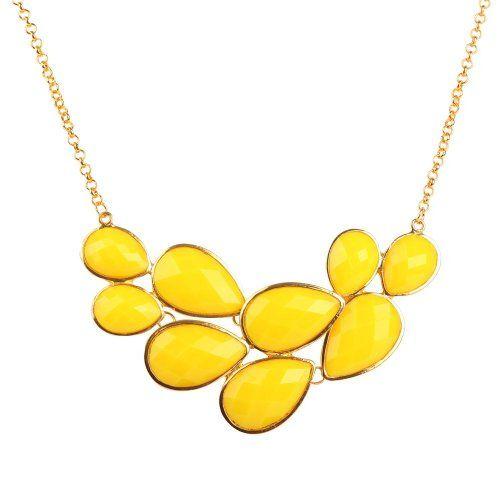 Amazon.com: Yellow Bubble Jewelry Drop Shape Necklace Yellow Necklace Cluster Necklace (Fn0564-Yellow) (Yellow): Jewelry