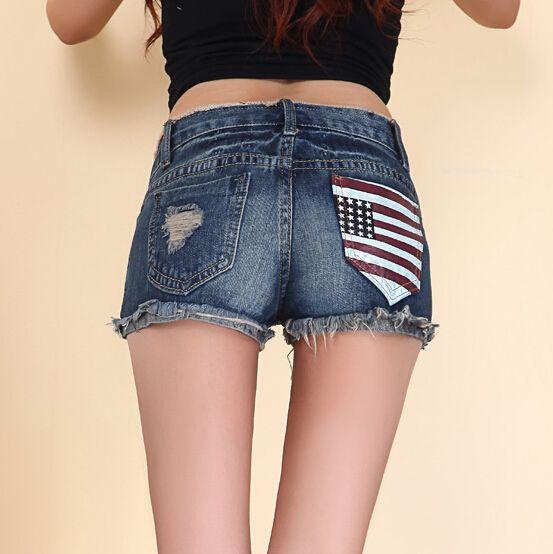 Aliexpress.com: Comprar Nuevo 2015 summer vintage ripped denim shorts para mujeres adelgazan la bandera americana bordado jeans cortos agujero feminino de niñas pantalones cortos de mezclilla confiables proveedores de CF Fashion Store.