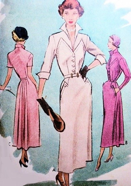 Late 40s Chic Dress Pattern McCall 7719 Opvallend Wing Collar passend bovenlijfje Seam Interesse Flirty Verzameld Terug dag of avond cocktailjurk Bust 32 Uitstekende Naaiende Patroon