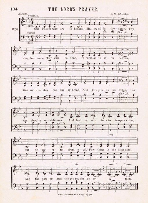 The Lord's Prayer Antique Hymn Page Printable - Knick of Time