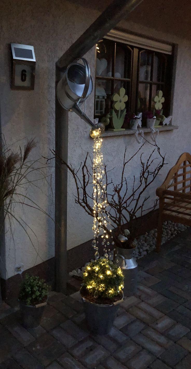 Balkonideen Giesskanne Lichterkette Lichterkette Garten
