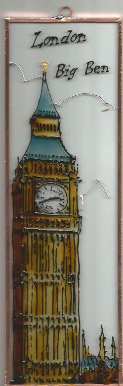 Big Ben Grafika: Navratil Zsuzsa Üvegre kivitelezte: Kőrösi Andrea  Mérete: 7,5 cm x 23,5 cm