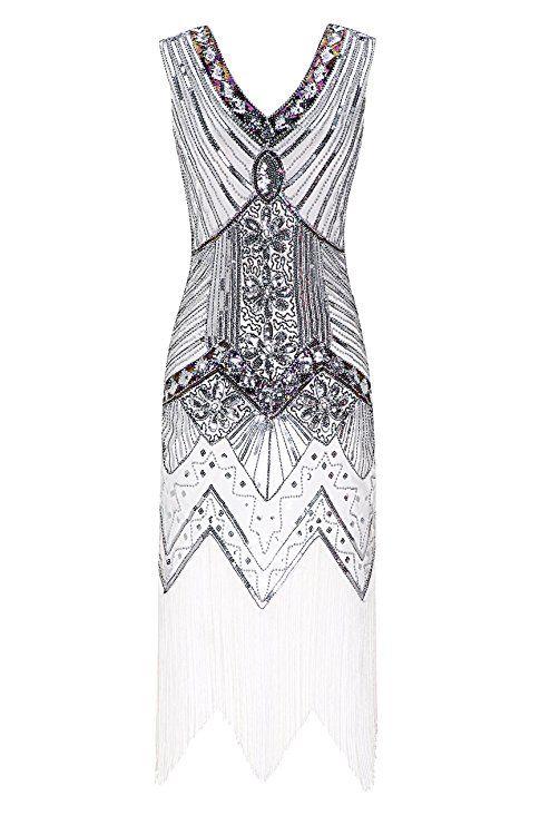 1fdd50a81d15 Metme Women s 1920s V Neck Beaded Fringed Gatsby Theme Flapper Dress for  Prom  Amazon.co.uk  Clothing