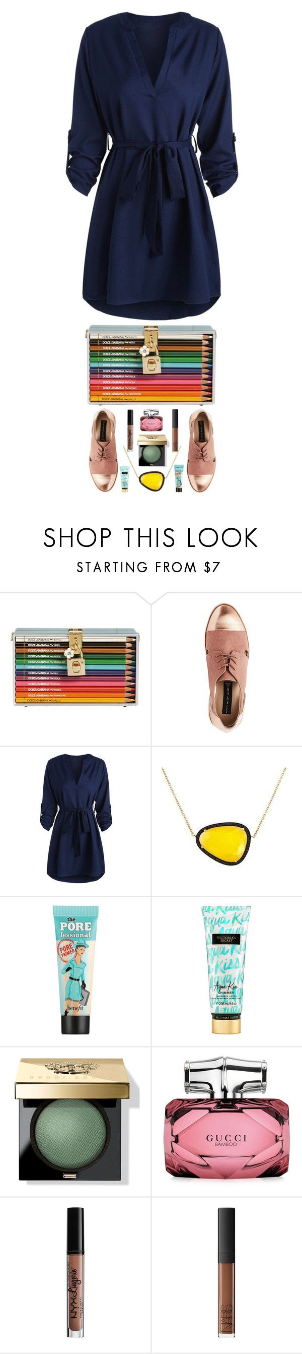 """""""Colour Me In"""" by cocochaneljr on Polyvore featuring Dolce&Gabbana, Christina Debs, Benefit, Victoria's Secret, Bobbi Brown Cosmetics, Gucci, Charlotte Russe and NARS Cosmetics"""