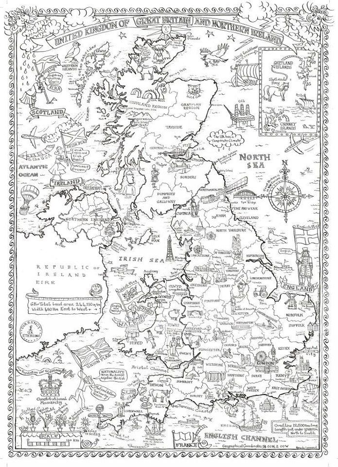 Colour in map of Great Britain www.phoenixcardstracy.co.uk Phoenixcardstracy@gmail.com