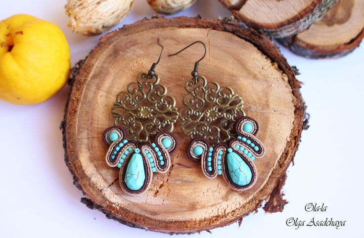 """a new collection of """"captivity turquoise"""" Earrings """"Turquoise openwork"""" Sutazhnaya embroidery, turquoise, govlity, Japanese seed beads, metal elements"""