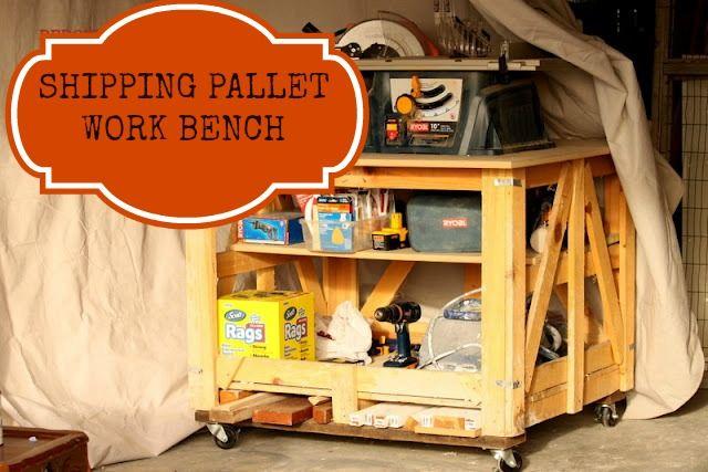 Make a Work Bench from Wood Pallets.  Redouxinteriors.com