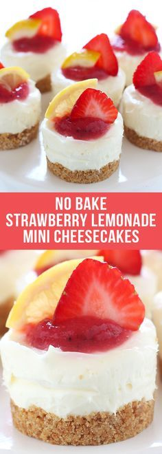 No Bake Strawberry Lemonade Mini Cheesecakes are adorably fresh, tart, and fruity and will be the star of any summer cookout! #nobake #minicheesecakes #cheesecake #strawberry #lemonade #summerdesserts #springdesserts