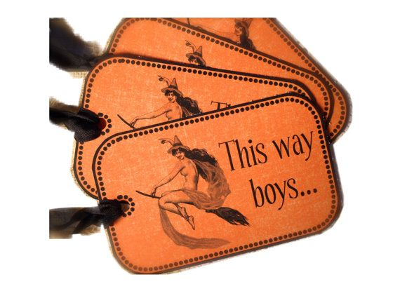 Naughty Witch Tag for Halloween, Retro Halloween, Funny Halloween Tag, Party Favor, Bag Tie for party
