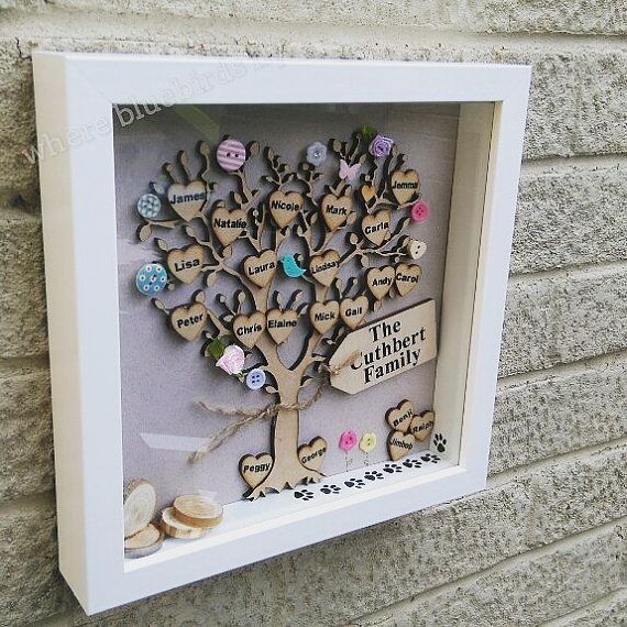 Family tree picture, in a white 9x9 inch frame with a wooden tree with a personalised heart for each family member set against a lovely neutral