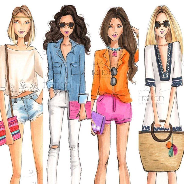 """A casual crew- happy Sunday! (Shop link in bio)  #fashionsketch…"