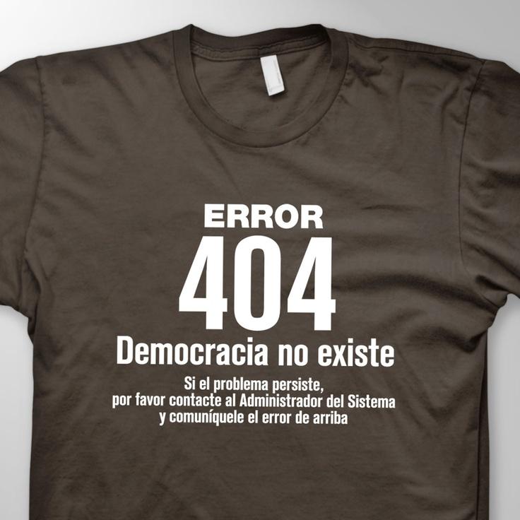 Error 404 Democracia no existe. Si el problema persiste, por favor contacte al Administrador del Sistema y comuníquele el error de arriba.