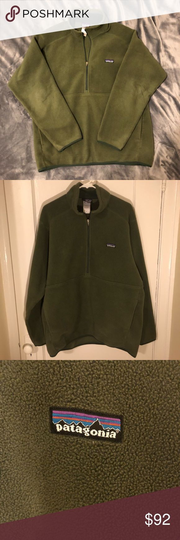 Patagonia Synchilla Army Green Men's XL Half Zip Awesome men's XL Patagonia synchilla half zip sweater jacket. Army green color. Kangaroo pocket in front. Great used condition. No holes or tears. Some love on the elbows. All offers considered! Patagonia Sweaters